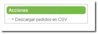 Descargar pedidos en csv