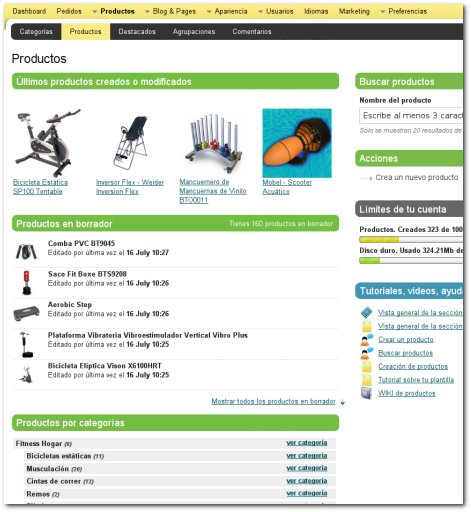 Sección productos
