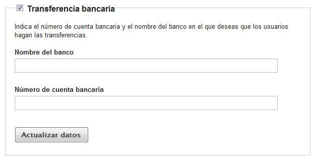 Formas de pago for Transferencia bancaria